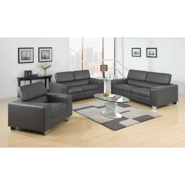 Beautiful Furniture Of America Mazri 3 Piece Bonded Leather Sofa Set