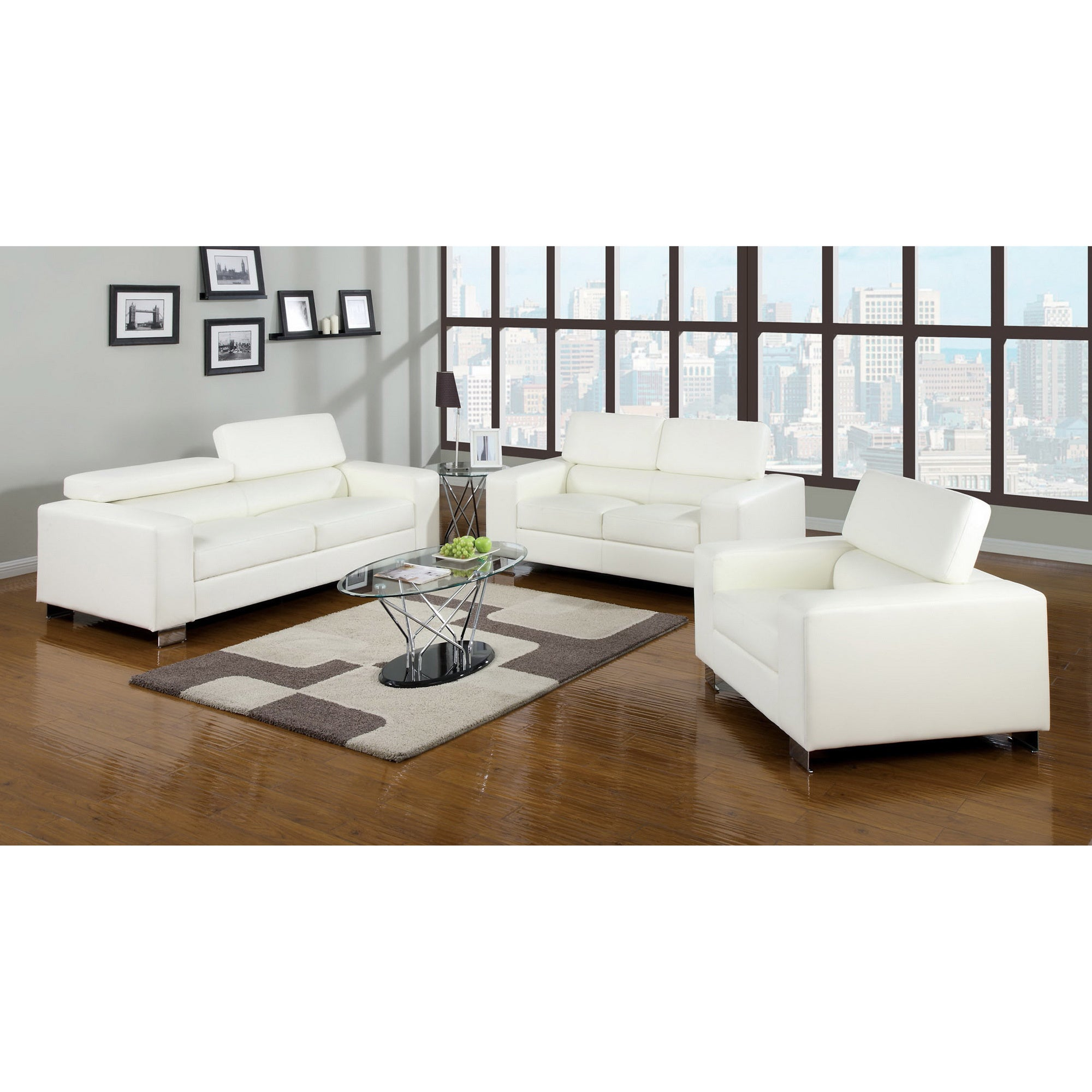 Furniture of America Mazri 3-piece Bonded Leather Sofa Set - Free ...