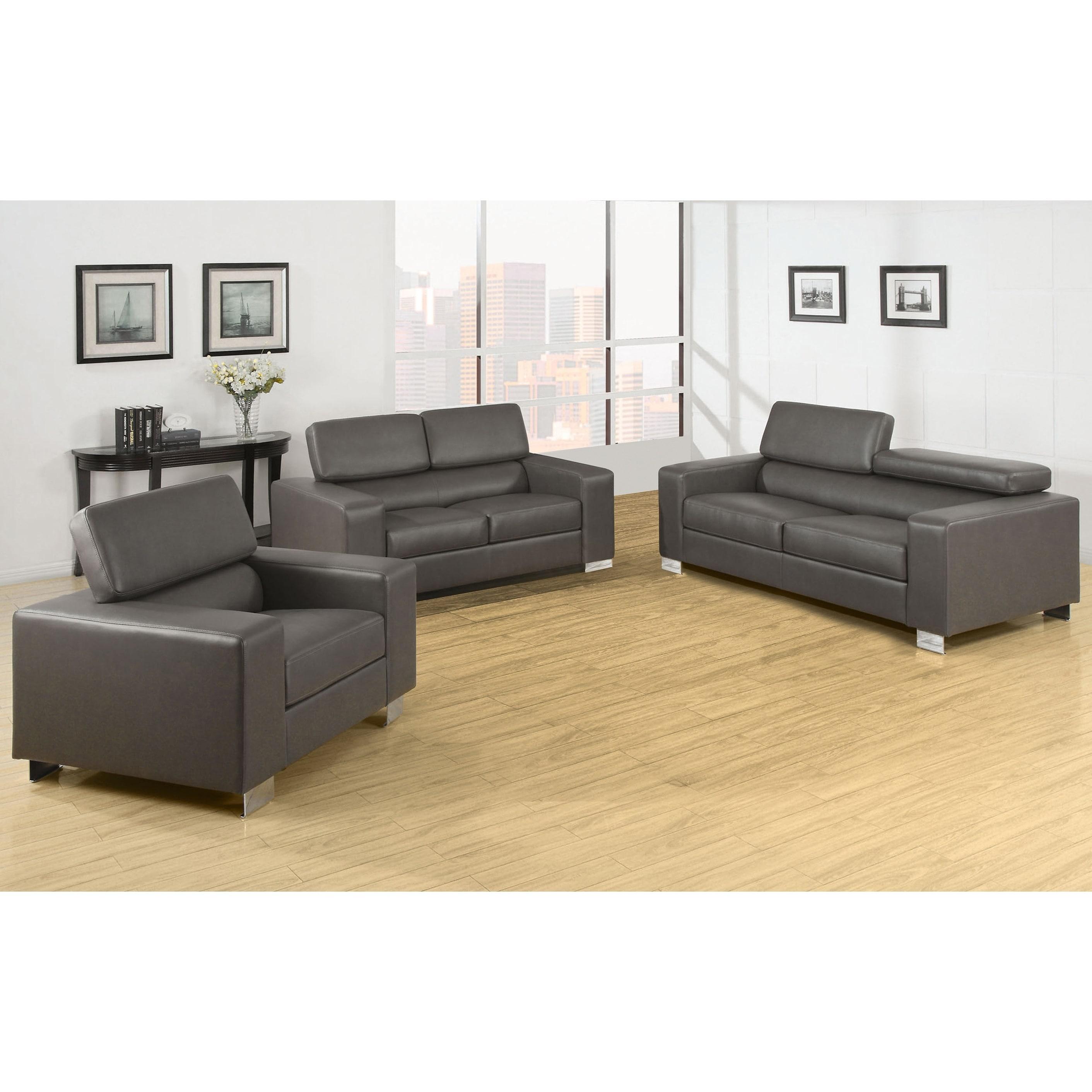 Furniture Of America Fash Contemporary Grey 3 Piece Sofa Set
