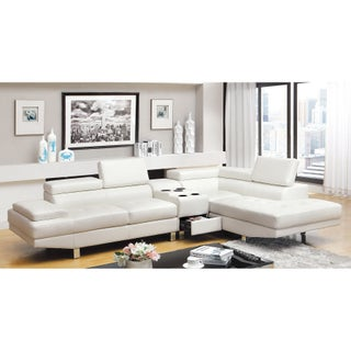 Furniture of America Kemzy 2-piece Bonded Leather Sectional Bluetooth Speaker Console Set (Option: White)