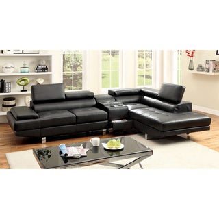 Furniture of America Kemzy 2-piece Bonded Leather Sectional Bluetooth Speaker Console Set