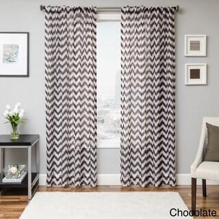Softline Fleur Chevron Back Tab Sheer Curtain Panel (3 options available)
