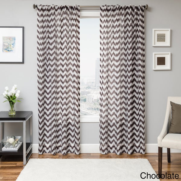 Softline Fleur Chevron Back Tab Sheer Curtain Panel