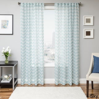 Fleur Chevron Back Tab Sheer Curtain Panel