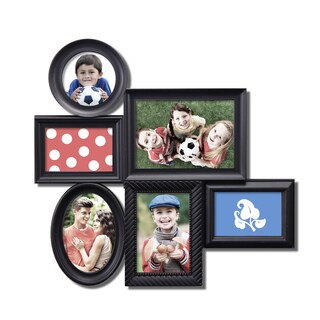 6-opening Black Plastic Wall Hanging Collage Picture Photo Frame