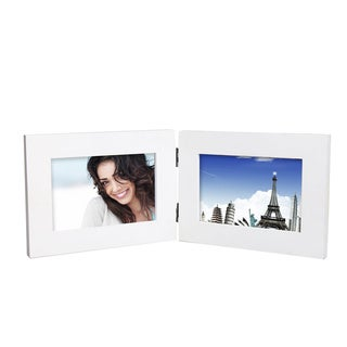 Adeco Decorative White Wood Hinged Table Desk Top 4x6 Photo Frame with 2 Openings