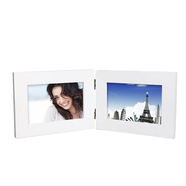 Adeco Decorative White Wood Hinged Table Desk Top 4x6 Photo Frame ...