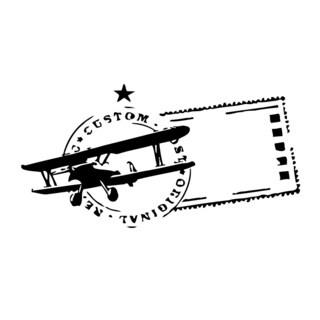 Aviation Mail Stamp Vinyl Wall Art