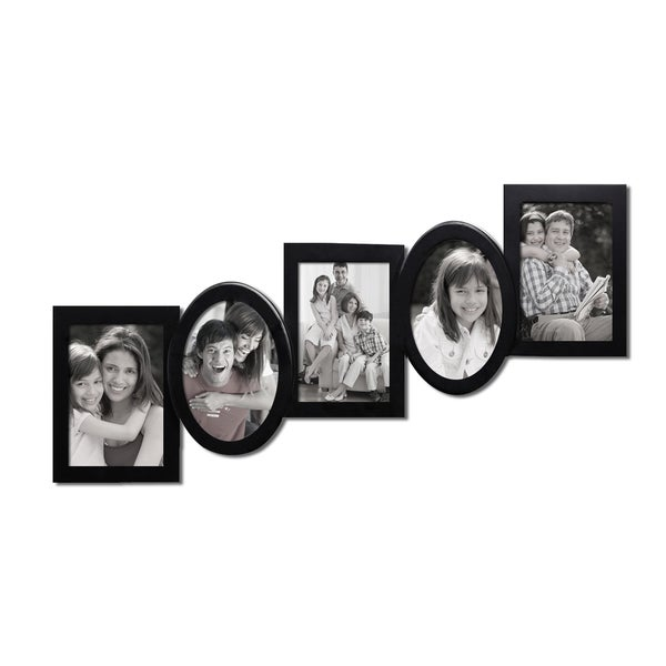 5-opening Black Wooden Wall Hanging Collage Photo Picture Frame