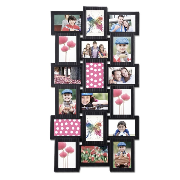 18-opening 4x6 Black Plastic Wall Hanging Collage Picture Photo Frame