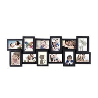 12 opening 4x6 black plastic wall hanging collage picture photo frame