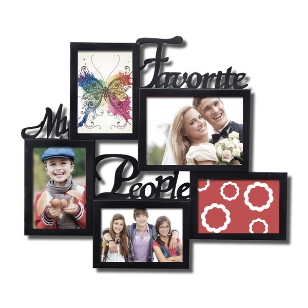 'My Favorite People' 5-opening Black Plastic Wall Hanging Collage Picture Photo Frame
