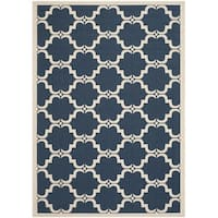 Safavieh Courtyard Moroccan Navy/ Beige Indoor/ Outdoor Rug - 4' x 5'7