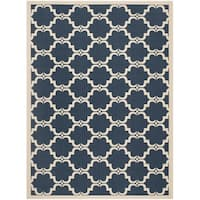 Safavieh Courtyard Moroccan Navy/ Beige Indoor/ Outdoor Rug (8' x 11')
