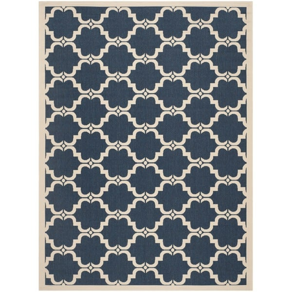 Safavieh Courtyard Moroccan Navy/ Beige Indoor/ Outdoor Rug - 8' x 11'