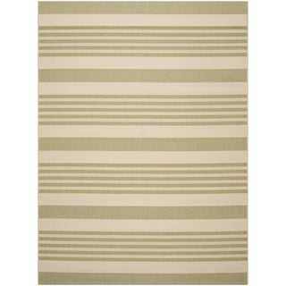 Safavieh Courtyard Stripe Beige/ Sweet Pea Indoor/ Outdoor Rug (8' x 11')
