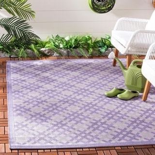 Safavieh Indoor/ Outdoor Courtyard Lilac/ Dark Lilac Rug (8' x 11')