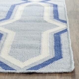 Safavieh Hand-woven Moroccan Reversible Dhurries Light Blue/ Dark Blue Wool Rug (8' x 10')