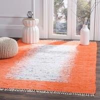 Safavieh Hand-woven Montauk Ivory/ Orange Cotton Rug - 4' x 6'