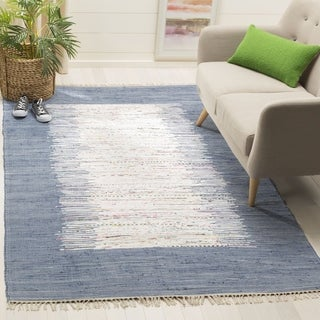 Safavieh Hand-woven Montauk Ivory/ Dark Blue Cotton Rug (4' x 6')