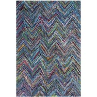 Safavieh Handmade Nantucket Blue/ Multi Cotton Rug - 3' x 5'
