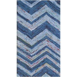 Safavieh Handmade Nantucket Abstract Chevron Blue/ Multi Cotton Rug (3' x 5')