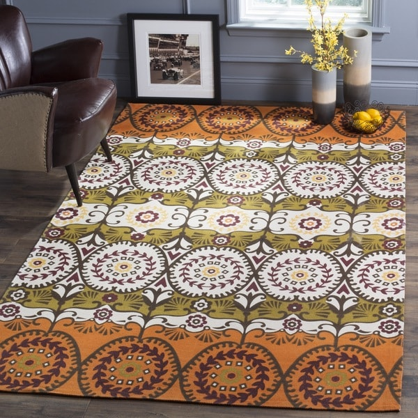 Safavieh Hand-loomed Cedar Brook Orange/ Red Cotton Rug - 7'3 x 9'3