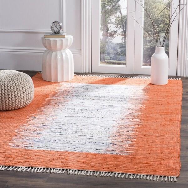 Safavieh Montauk Hand-Woven Flatweave Ivory/ Orange Border Cotton Tassel Area Rug - 8' X 10'