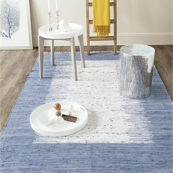 Safavieh Hand-woven Montauk Ivory/ Dark Blue Cotton Rug (8' x 10')