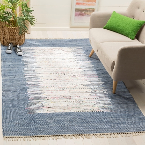 Safavieh Hand-woven Montauk Ivory/ Dark Blue Cotton Rug - 8' x 10'