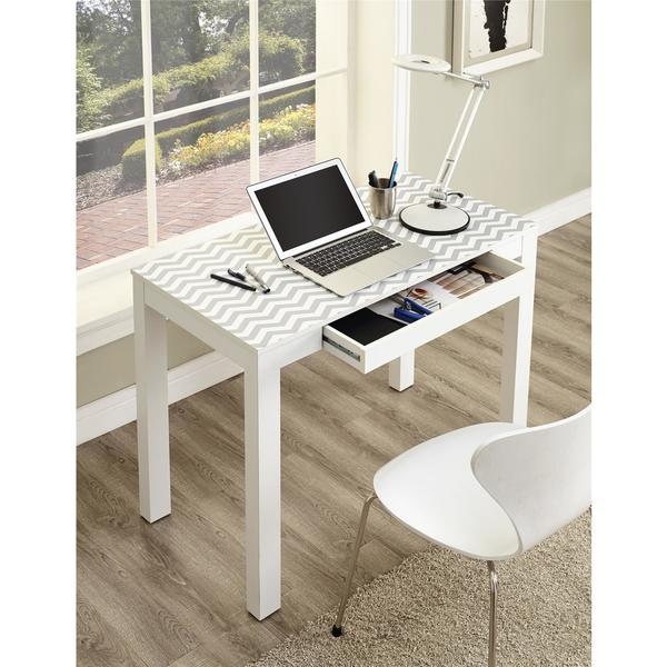 Ameriwood Home Delilah White/ Grey Chevron Parsons Desk with Drawer