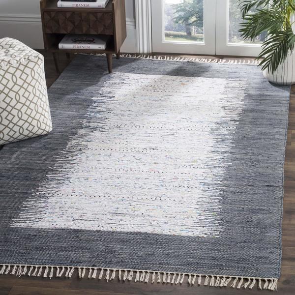 Safavieh Hand-woven Montauk Ivory/ Grey Cotton Rug - 8' x 10'