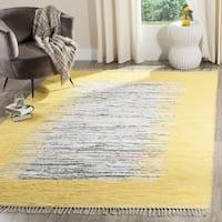 Safavieh Montauk Hand-Woven Flatweave Ivory/ Yellow Border Cotton Rug - 4' x 6'