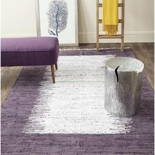 Safavieh Hand-woven Montauk Ivory/ Purple Cotton Rug (8' x 10')