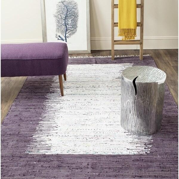 Safavieh Montauk Hand-Woven Flatweave Ivory/ Purple Border Cotton Rug - 8' x 10'