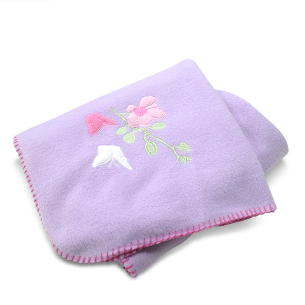 Purple Floral Applique Embroidered Fleece Throw Blanket