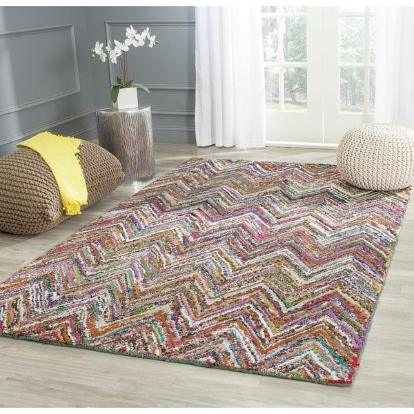 Safavieh Handmade Nantucket Abstract Chevron Blue/ Multi Cotton Rug - 8' x 10'