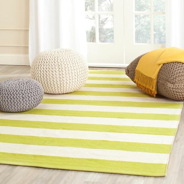 Safavieh Hand-woven Montauk Green/ White Cotton Rug - 8' x 10'