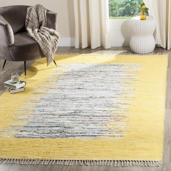 Safavieh Montauk Hand-Woven Flatweave Ivory/ Yellow Border Cotton Rug - 8' x 10'