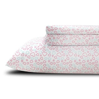 Printed Hearts Kids/ Teen Twin Sheet Set