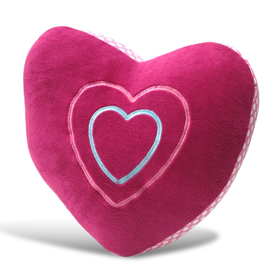 Heart Shaped Pink Microplush Embroidered Decorative Pillo...