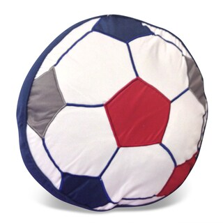 Soccer Ball Shaped Applique Embroidered Decorative Pillow