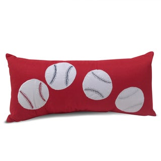 Baseball Red Applique Embroidered Lumbar Decorative Throw Pillow