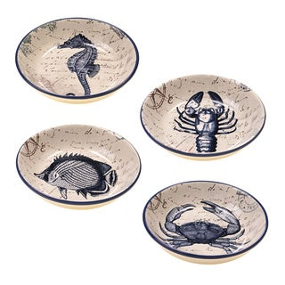 Hand-painted Coastal Postcards 9.25-inch Assorted Ceramic Soup/Pasta Bowls (Set of 4)