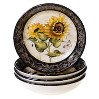 Hand-painted French Sunflowers 9.25-inch Soup/Pasta Bowls (Set of 4)