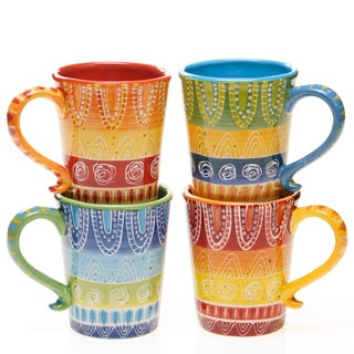 Colorful Tapas 18-ounce Ceramic Mug (Set of 4)