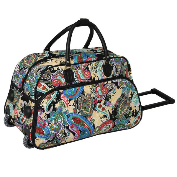 World Traveler Paisley Artisan  Inch Carry On Rolling Upright Duffel Bag