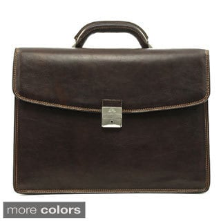 Tony Perotti Men's Italian Bull Leather Tuscany Triple Compartment Leather Laptop Briefcase