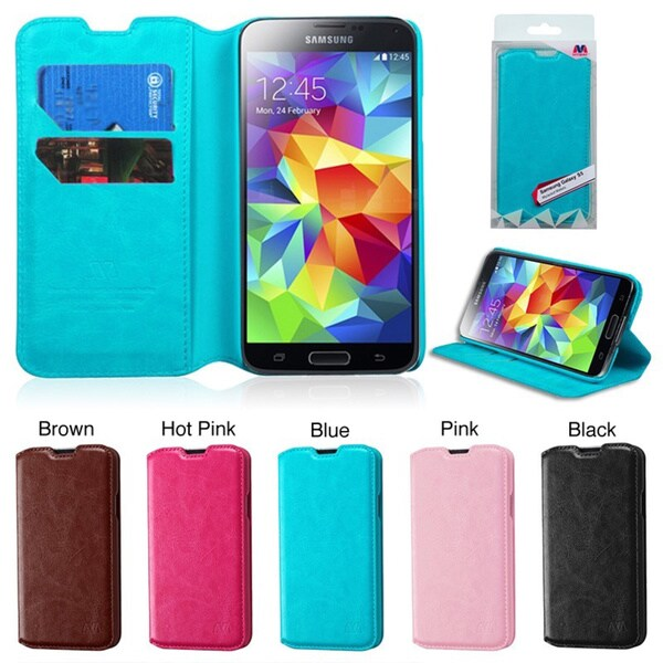 INSTEN Wallet Card Slot Book-style Leather Phone Case Cover for Samsung Galaxy S5/ SV