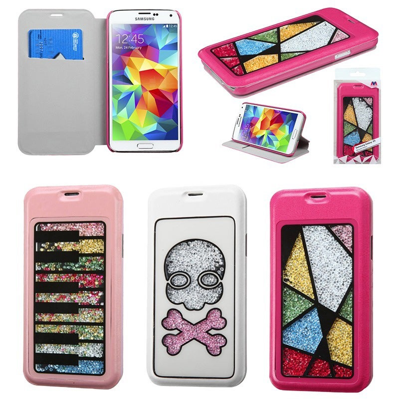 Insten Book-style Leather Phone Case with Diamonds/ Card Slot for Samsung Galaxy S5/ SV